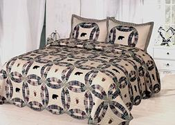 AHT Light Black Bear - 3 Piece King Quilt Bedding Set