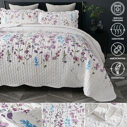 Bedsure Lightweight Quilt Set Queen/ Full Soft Lilac Floral