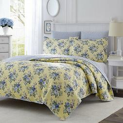 Laura Ashley Linley 3-Piece Quilt Set, Cotton, Twin/Full/Que