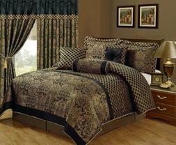 Chezmoi Collection Lisbon 7-Piece Jacquard Floral Comforter