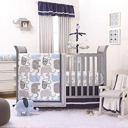 Little Peanut Blue Grey Elephant Crib Bedding - 11 Piece Sle