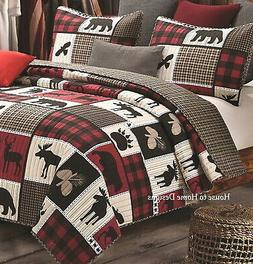 LODGE LIFE Full Queen QUILT SET : BLACK BEAR PAW MOOSE CABIN