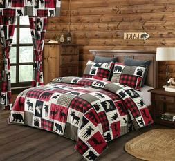 Virah Bella Lodge Life 3pc King Quilt Set, Black Bear Paw Mo