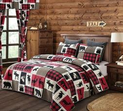 BLACK BEAR PAW DEER MOOSE CABIN LODGE LIFE QUILT SET RED BUF