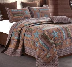 LODGE STAR ** King ** QUILT SET : COUNTRY BARN BROWN CABIN P