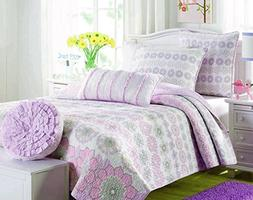 Cozy Line Home Fashions Orchid Lola Bedding Quilt Set, Flora