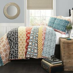 Lush Decor 3 Piece Bohemian Stripe Quilt Set, Full/Queen, Tu