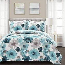 Lush Decor Blue Leah Quilt Floral 3 Piece Reversible, King S