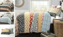 Lush Décor Bohemian Striped Quilt Reversible 3 Piece Colorf