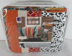 Lush Decor Boho Stripe 3-Piece Reversible Quilt Set, King ,
