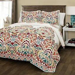 Lush Decor Clara Quilt 3 Piece Reversible Bedding Set, Full
