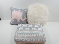 Lush Decor Elephant Striped Quilt Reversible 4 Piece Set Twi