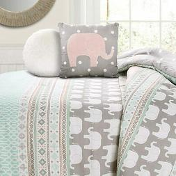 Lush Decor Pink-and-Turquoise Elephant Striped 4-Piece Comfo