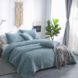 100% Cotton 3Pcs Quilt Set Soft Bedspread Lightweight Comfor
