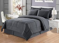 Grand Linen 8 piece Luxury GREY Dobby Stripe Bed In A Bag Re