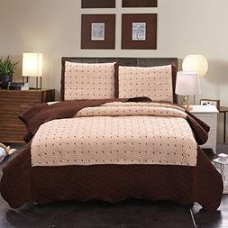 Jml Luxury 2 Pieces Quilt Set Twin Size, Soft Brushed Microf