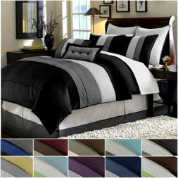 luxury striped pleated comforter bedding set
