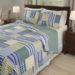 Bedford Home Lynsey 3 Piece Quilt Set - Full/Queen