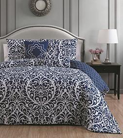 Avondale Manor 5 Piece Madera Comforter Set, Queen, Blue