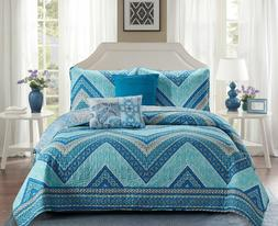5 Piece Beautiful Madison Blue Chevron Reversible Design Bed