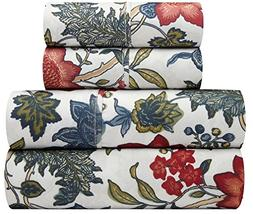 Traditions by Waverly Maldives Blue and Red Floral 4-Pc. Bed