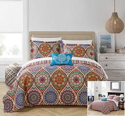 Chic Home 4 Piece Malka Reversible Boho-inspired print and c