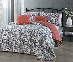 5 Piece Quilt Set - Orange & Gray - King Set Avondale Manor