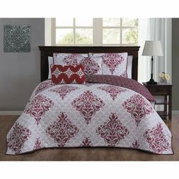 Avondale Manor Mari 5-piece Quilt Set, King, Red