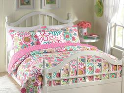 Mariah Polka Dot Flower Reversible Quilt Set, Bedspreads, Co