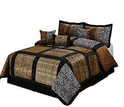 7 Piece MARTEN Fuax Fur Safari Patchwork Comforter Set- Quee
