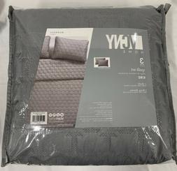 maxwell 3 piece king grey quilt set