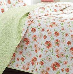 LAURA ASHLEY Meadow Dance  Apricot Orange, Green Cotton Full