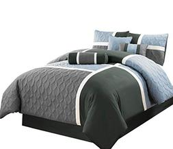 7pcs Medallion Quilted Patchwork Comforter Set Cal King, Blu