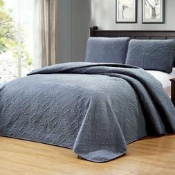 Medallion Reversible Bedspread Coverlet Quilt Set 3-Piece Ov