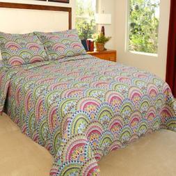 Bedford Home Melanie Printed 3-Piece Quilt Set, King