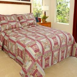 Bedford Home Melissa Printed 3-Piece Quilt Set, King