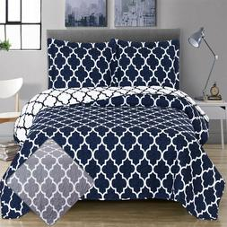 Meridian Printed Over-Sized 3PC Quilt Set Cotton Blend Rever