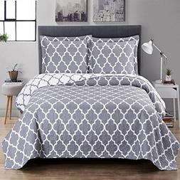 Meridian- Grey with White- King/Cal king Size  Over-Sized Qu