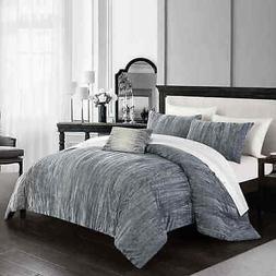 Chic Home Merieta 8-Piece Comforter Set - Grey - Size: Queen