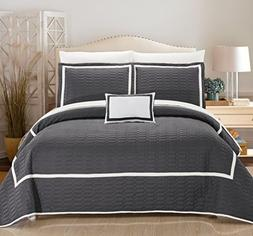 Chic Home 8 Piece Mesa Quilt Cover Set, Queen, Grey