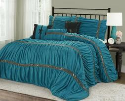MH 7 Pieces Ruched Pleated Comforter Set King Size Turquoise