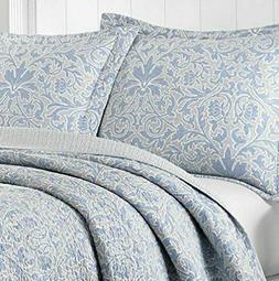 LAURA ASHLEY Mia Pebble Blue, Gray & White Cotton 3pc Full/Q