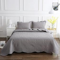 NEWLAKE Microfiber Lightweight 3 Piece Bedspread Coverlet Se