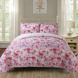 Hilin Fashion Microfiber Reversible Printing Quilt set Twin