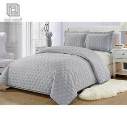 Microfiber Reversible Quilt Set with Shams 3Pcs, Full/Queen/