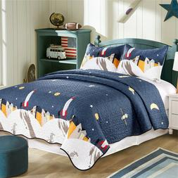 Microfiber Reversible Twin/Queen Boys Quilt Set with Shams,