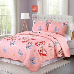 Microfiber Reversible Twin/Queen Girls Quilt Set with Shams,