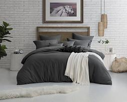 Swift Home Microfiber Washed Crinkle Duvet Cover & Sham , Pr