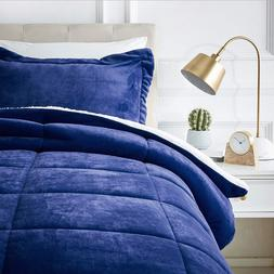 Amazonbasics Micromink Sherpa Comforter Ultra Soft Fray Resi