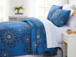 Midnight Floral Reversible Oversized Quilt Set by Southshore